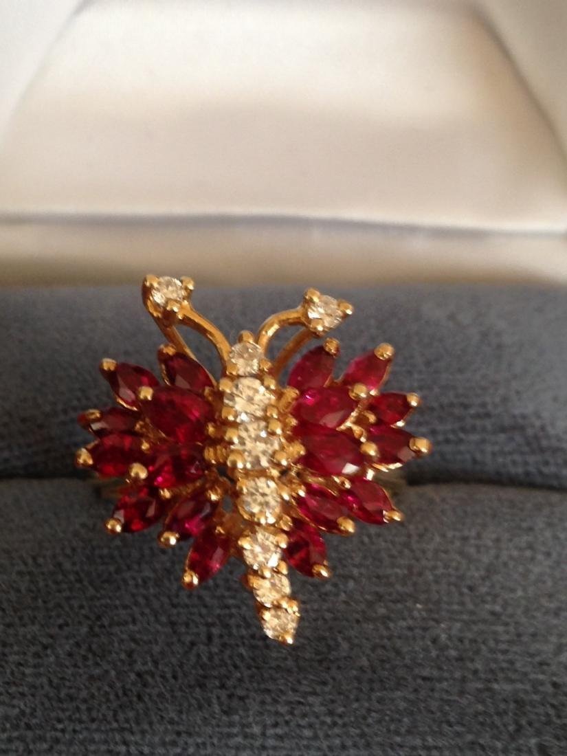Estate Ring Ruby and Diamond Butterfly Size 8 - 6