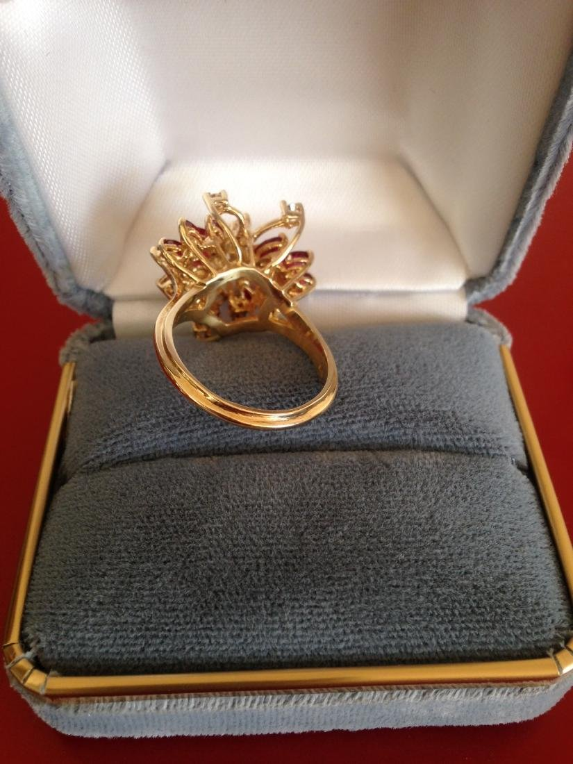 Estate Ring Ruby and Diamond Butterfly Size 8 - 8