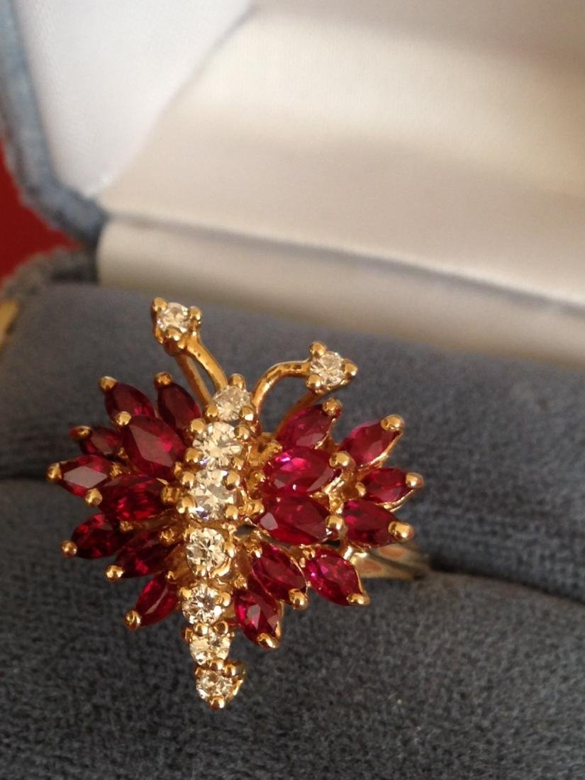 Estate Ring Ruby and Diamond Butterfly Size 8 - 9