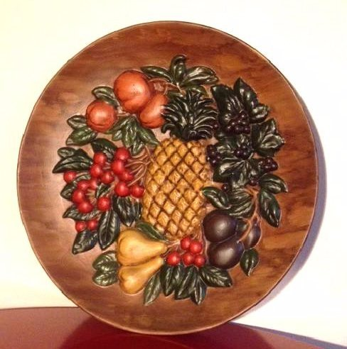Vintage Hand-Painted Ceramic Plate w/ Fruit, Signed