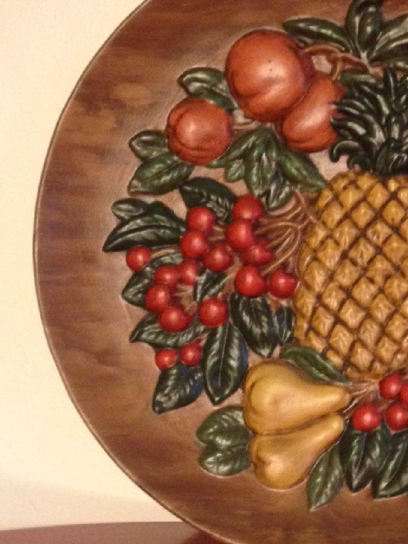 Vintage Hand-Painted Ceramic Plate w/ Fruit, Signed - 4
