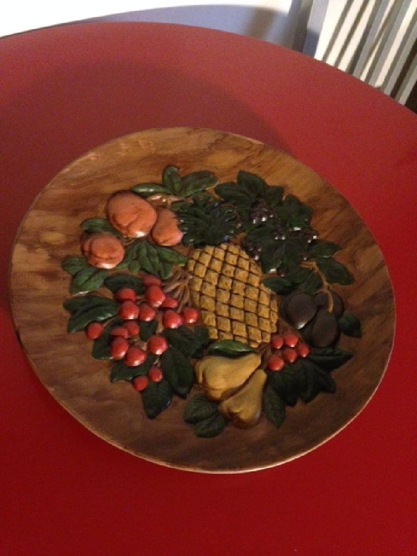Vintage Hand-Painted Ceramic Plate w/ Fruit, Signed - 9