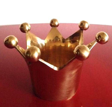Solid Brass Crown Votive/Trinket Holder from India