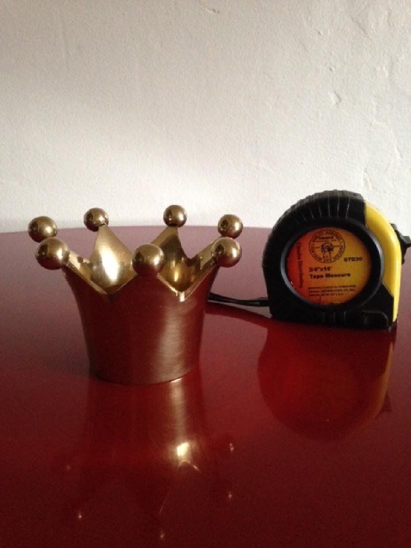 Solid Brass Crown Votive/Trinket Holder from India - 4