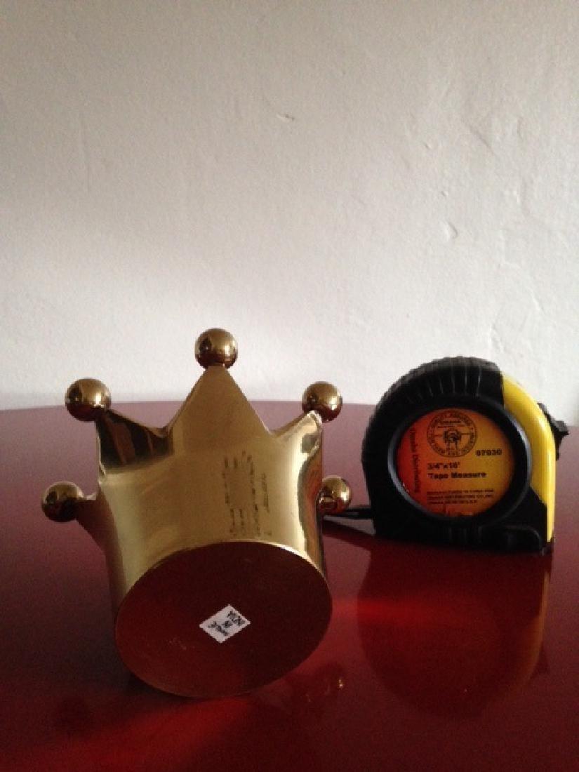 Solid Brass Crown Votive/Trinket Holder from India - 5