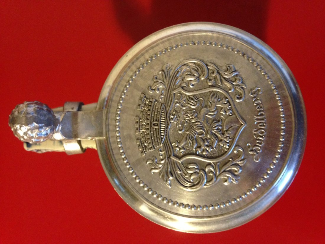 Heidelberg Rein Zinn Stoneware German Stein, Pewter Lid - 6