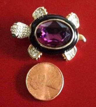 Amethyst and Rhinestone Turtle Brooch