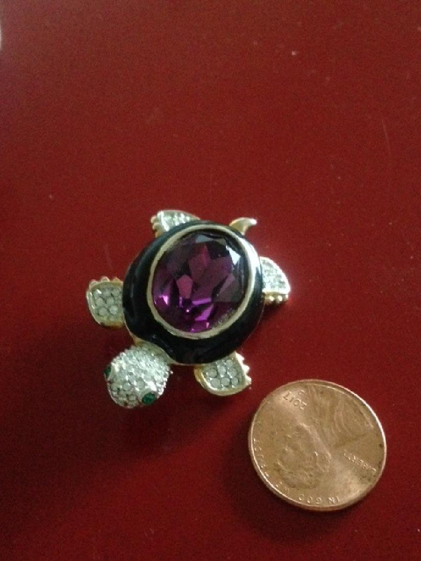 Amethyst and Rhinestone Turtle Brooch - 2