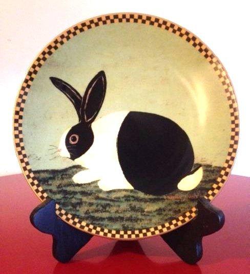 Lenox Warren Kimble Black and White Bunny Plate
