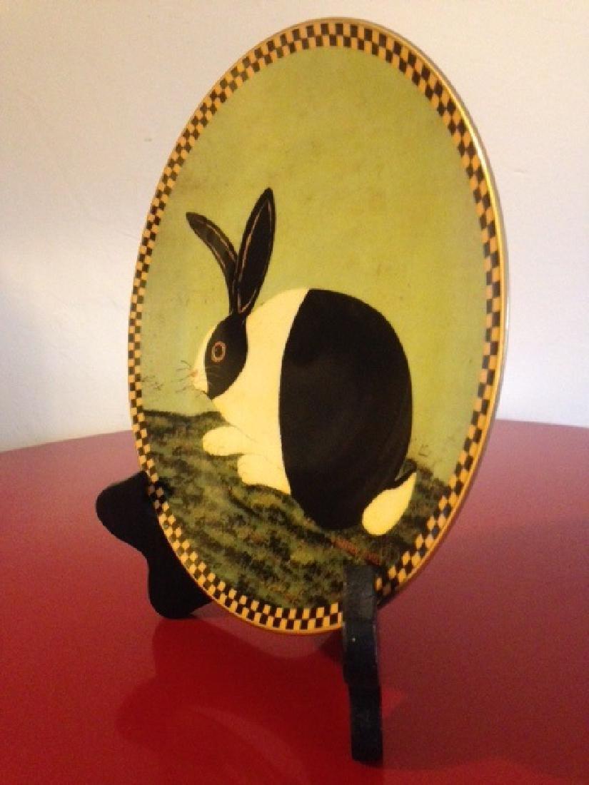 Lenox Warren Kimble Black and White Bunny Plate - 2
