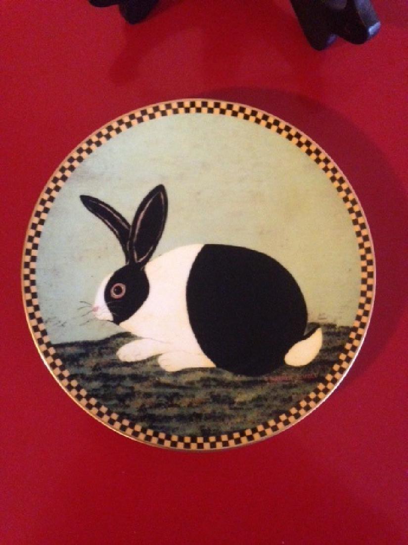 Lenox Warren Kimble Black and White Bunny Plate - 4