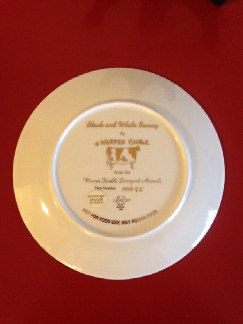 Lenox Warren Kimble Black and White Bunny Plate - 5