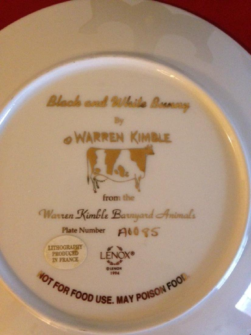 Lenox Warren Kimble Black and White Bunny Plate - 6