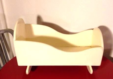 Hand-Crafted Painted Doll Rocking Cradle/Crib