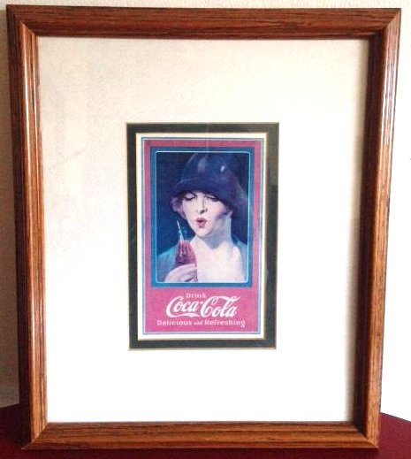 Coca-Cola Advertising Print - Woman in Hat w/ Bottle
