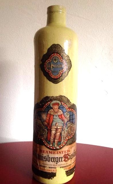 Vintage German Yellow Stoneware Wine Bottle Beameister