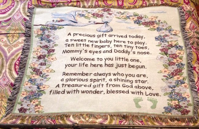 """Beautiful Throw Baby Blanket 49""""W x 39"""""""
