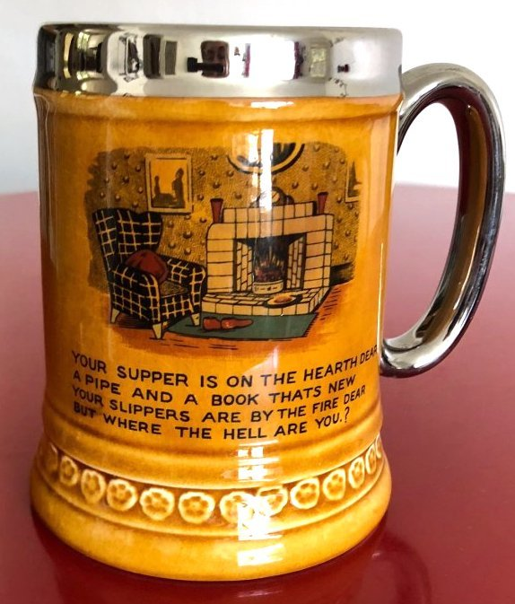Vintage Lord Nelson Stein with Phrase, Fireplace, Pipe