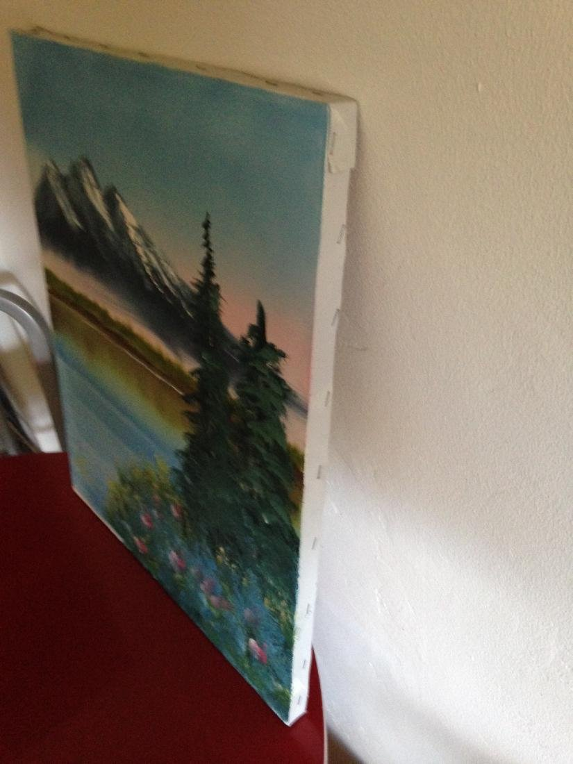 Oil on Canvas Painting of Mountain Lake Scene, Signed - 10