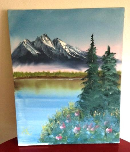 Oil on Canvas Painting of Mountain Lake Scene, Signed