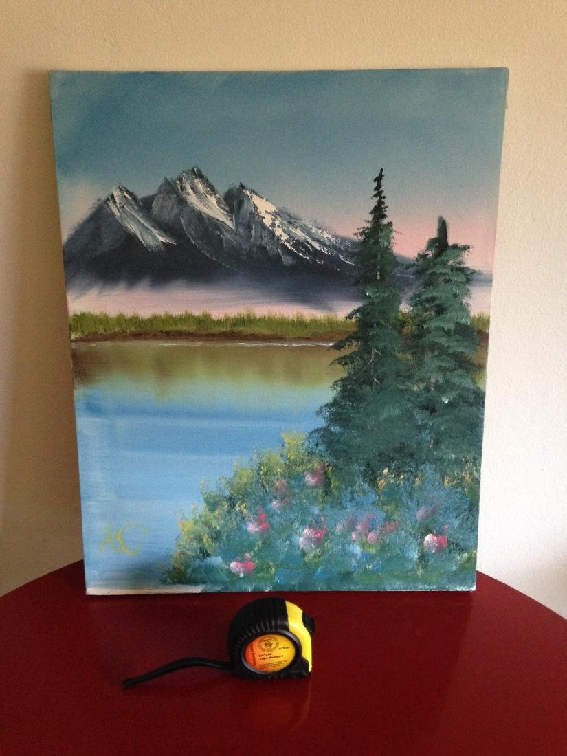Oil on Canvas Painting of Mountain Lake Scene, Signed - 2