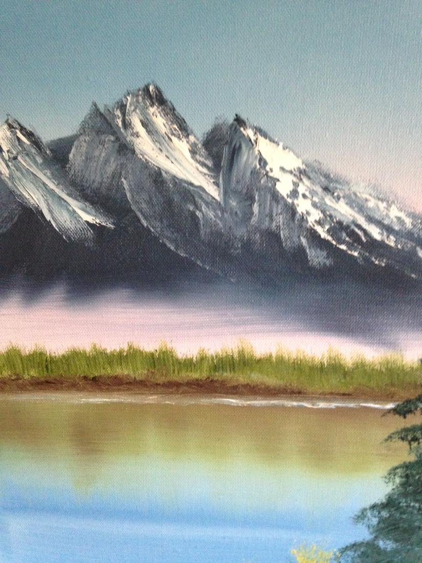 Oil on Canvas Painting of Mountain Lake Scene, Signed - 7