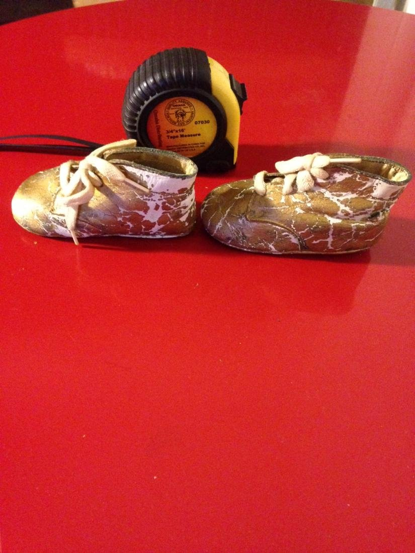 Rare Antique 1943 Baptism Baby Shoes/Booties - 2