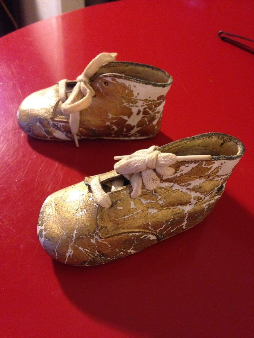 Rare Antique 1943 Baptism Baby Shoes/Booties - 7