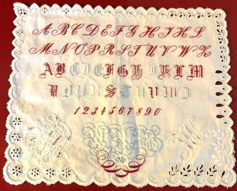 Antique 1891 Hand-Embroidered Alphabet Sampler
