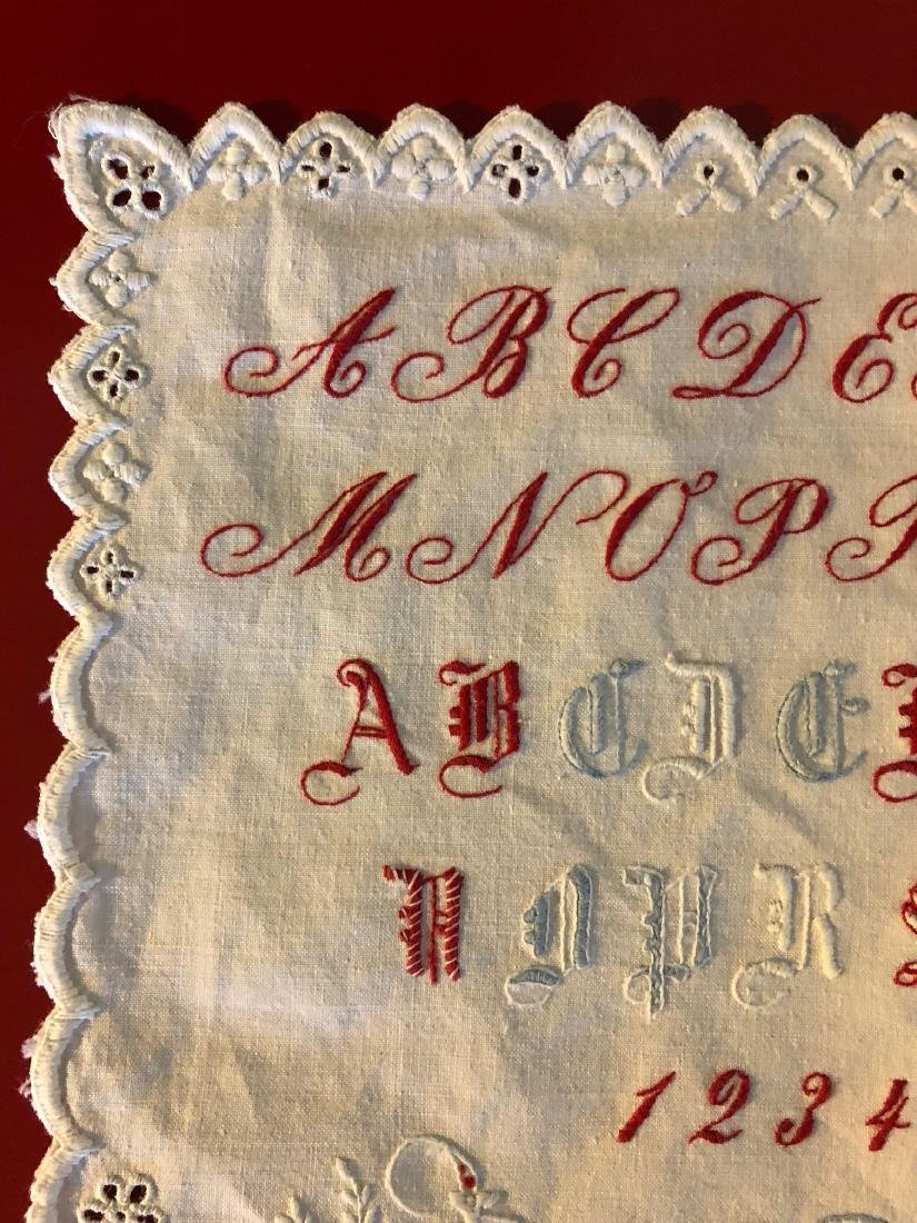 Antique 1891 Hand-Embroidered Alphabet Sampler - 2