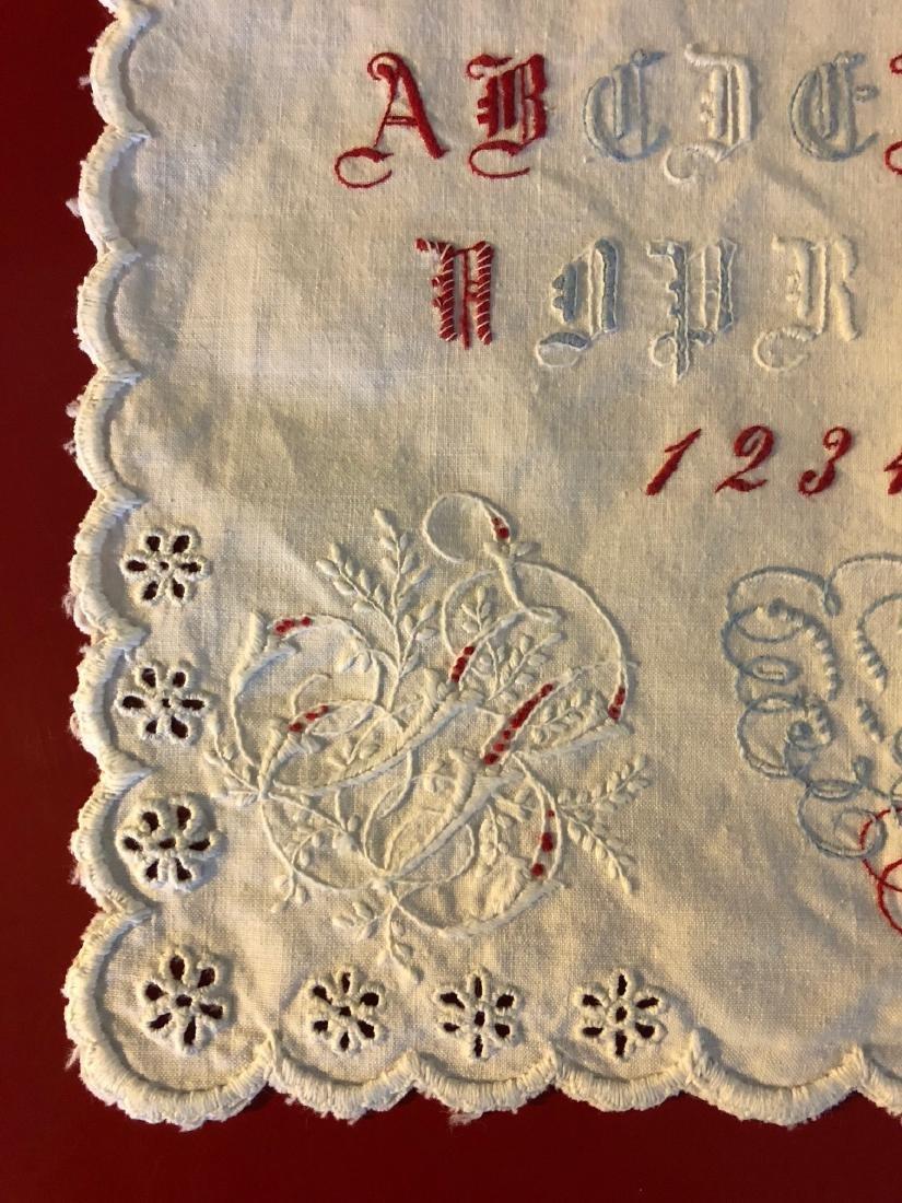 Antique 1891 Hand-Embroidered Alphabet Sampler - 3