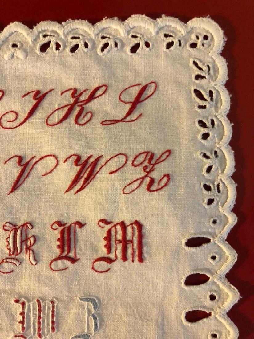 Antique 1891 Hand-Embroidered Alphabet Sampler - 4