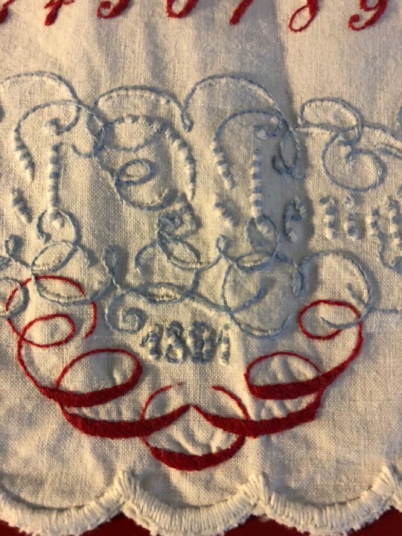 Antique 1891 Hand-Embroidered Alphabet Sampler - 6