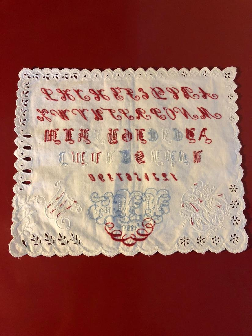 Antique 1891 Hand-Embroidered Alphabet Sampler - 7