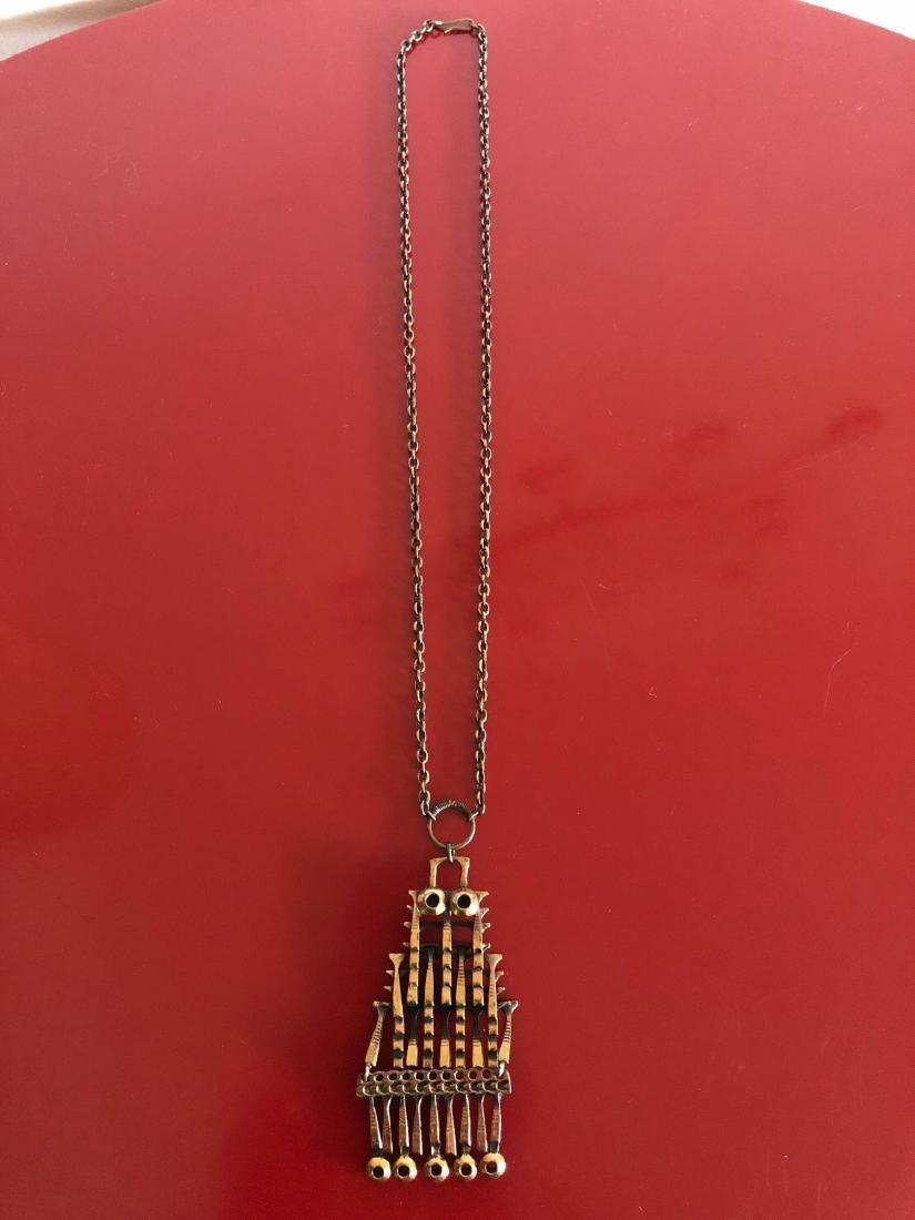 Unique 1960's Copper Sarpaneva Owl Necklace - 2