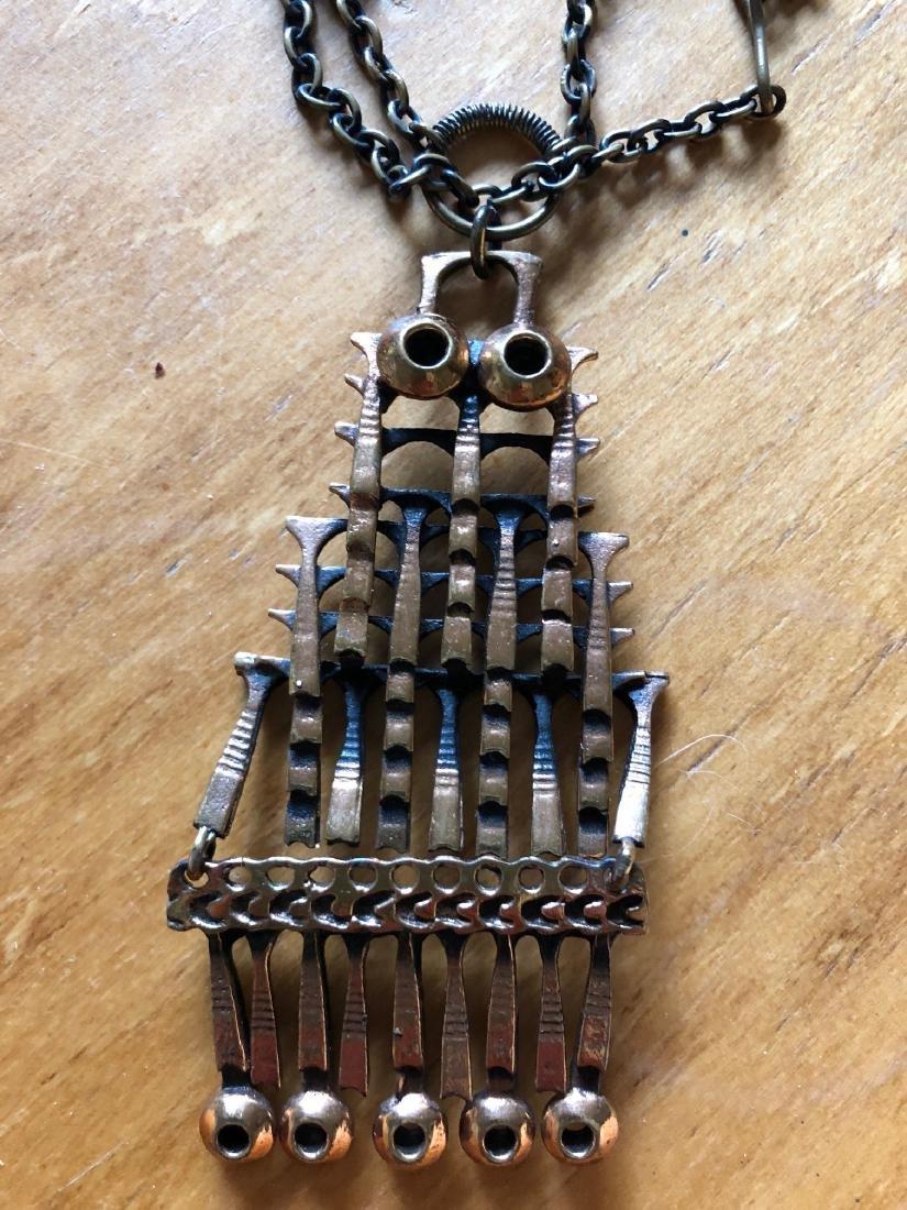 Unique 1960's Copper Sarpaneva Owl Necklace - 3