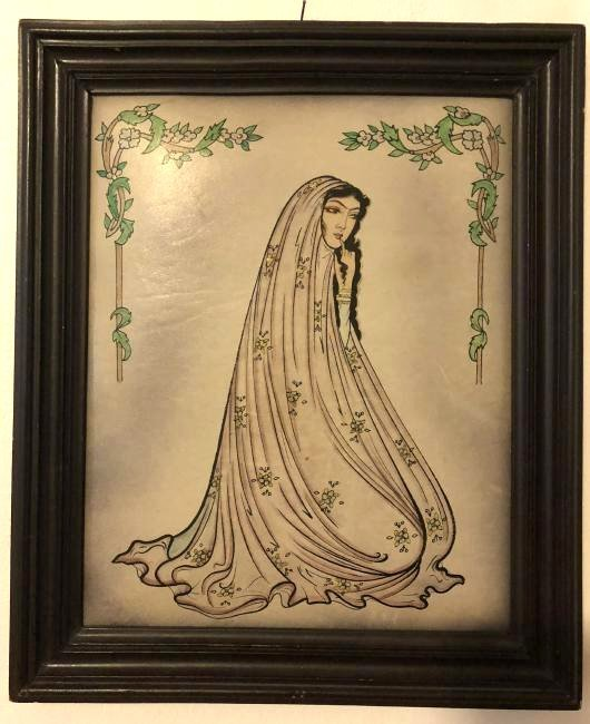 Vintage Painting on Vinyl of Woman, Framed