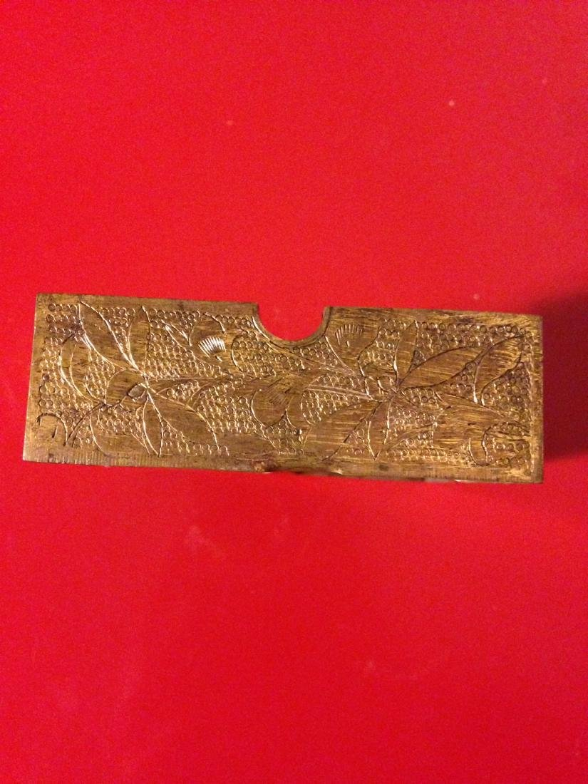 Qing Chinese Etched Bronze, Jade Ash Tray - 4