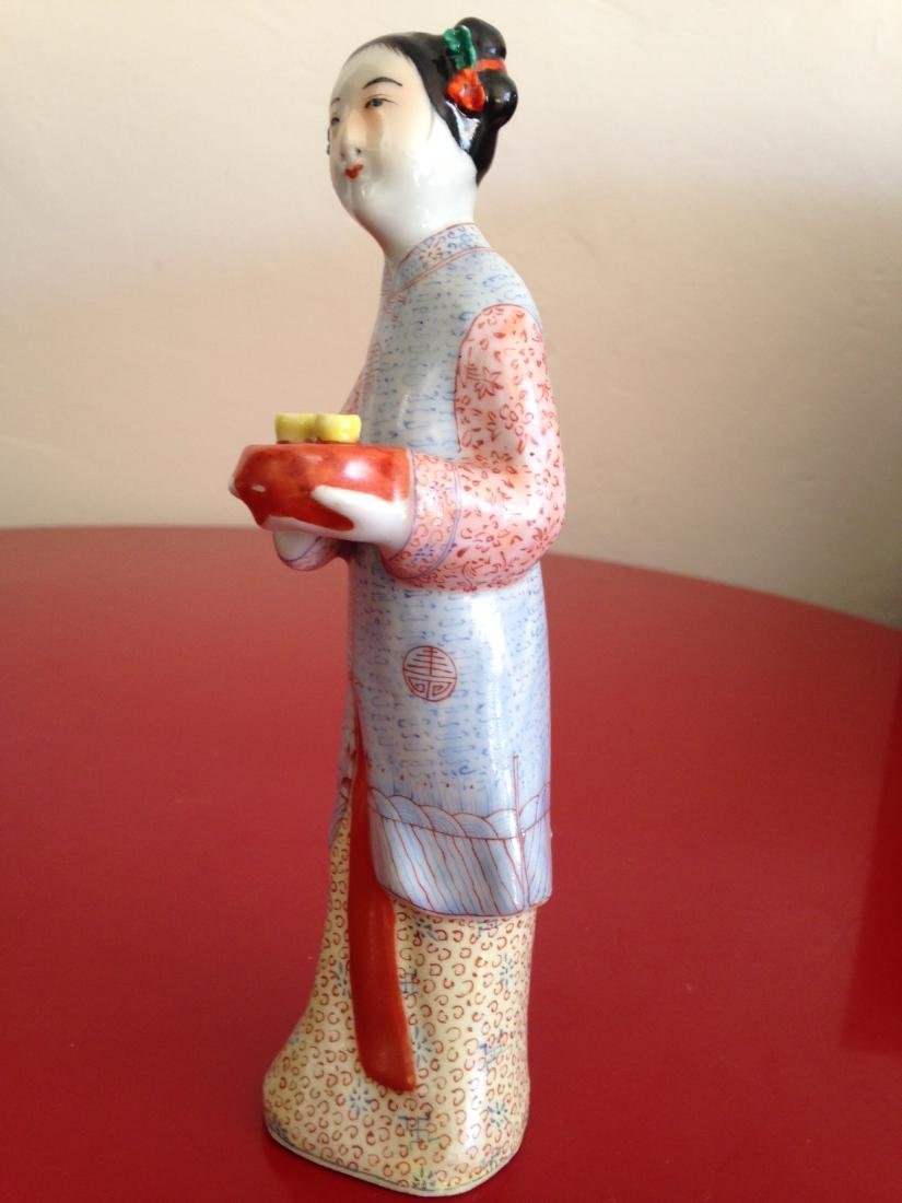 Chinese Porcelain Statue Woman Offering Tea - 7