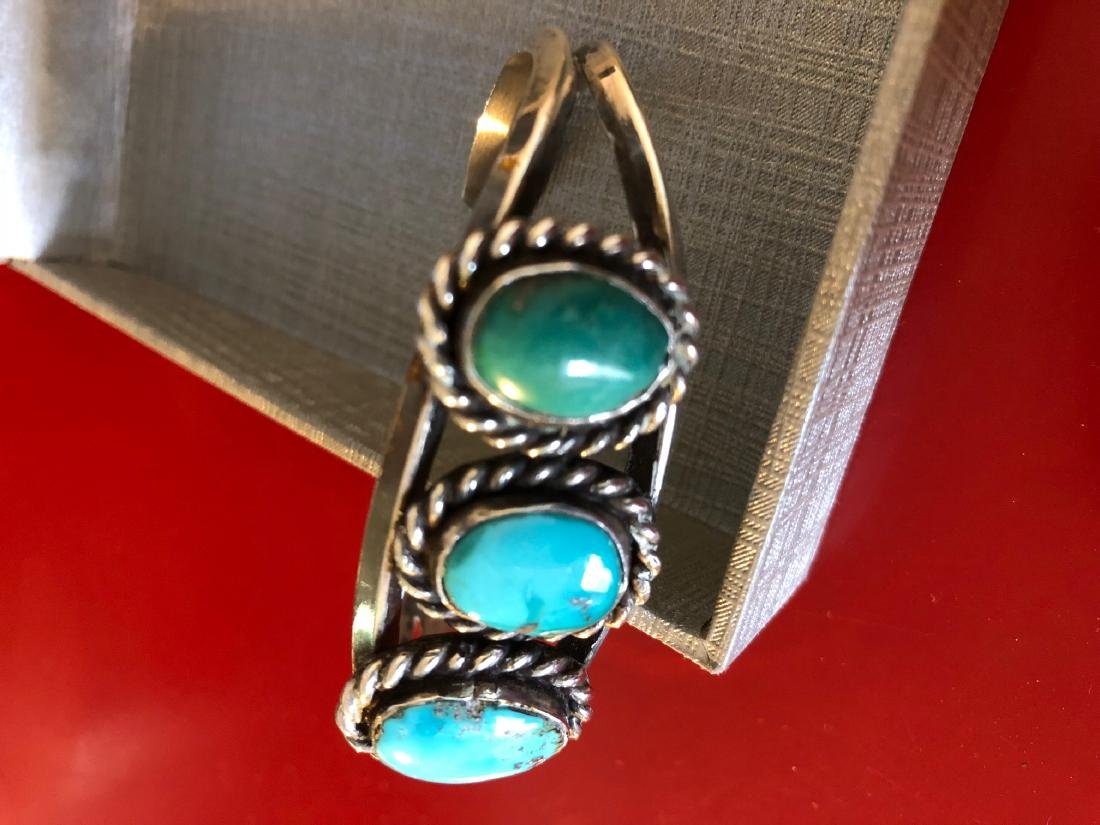 Native American Sterling Silver, Turquoise Bracelet - 10