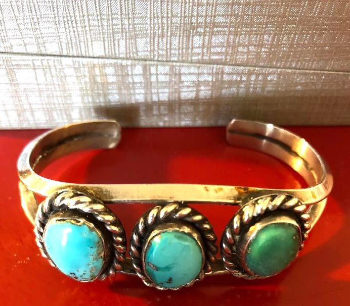 Native American Sterling Silver, Turquoise Bracelet