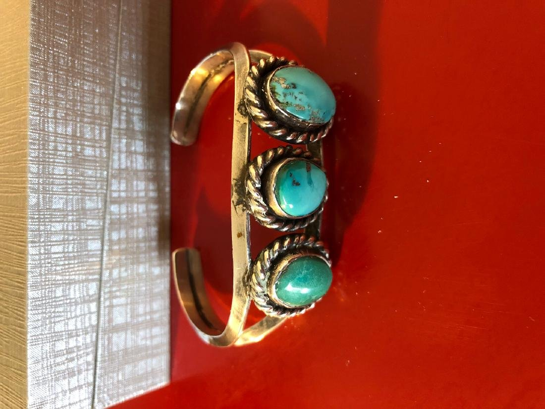 Native American Sterling Silver, Turquoise Bracelet - 2