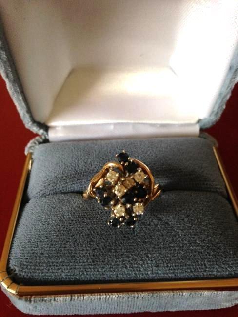 Sapphire Diamond 14k Gold Cluster Estate Ring