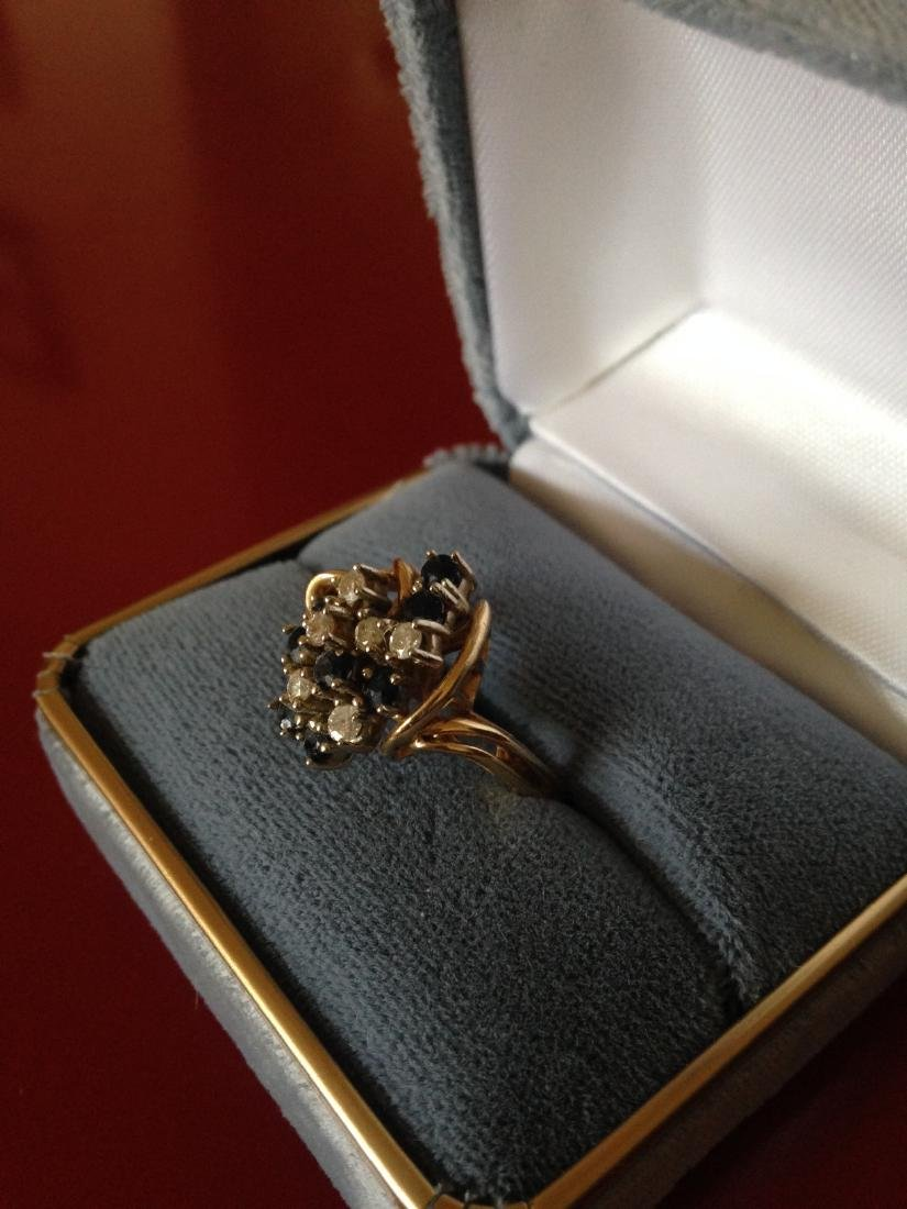 Sapphire Diamond 14k Gold Cluster Estate Ring - 2