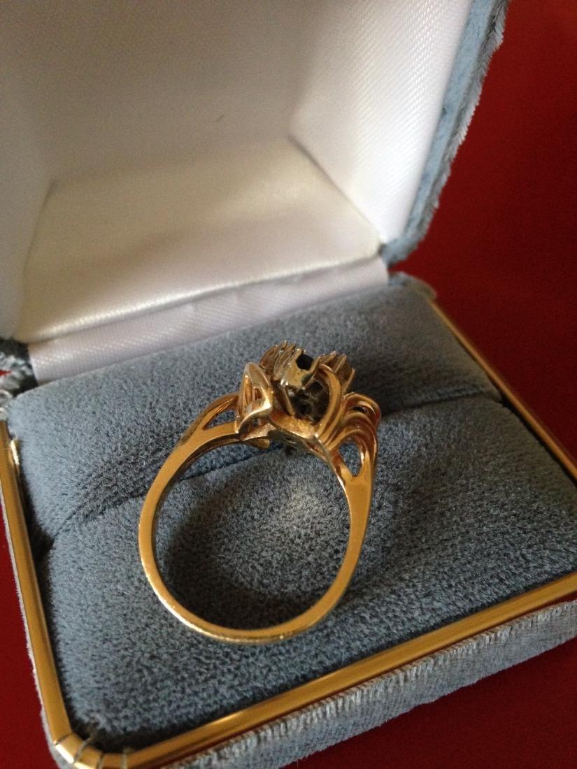 Sapphire Diamond 14k Gold Cluster Estate Ring - 4