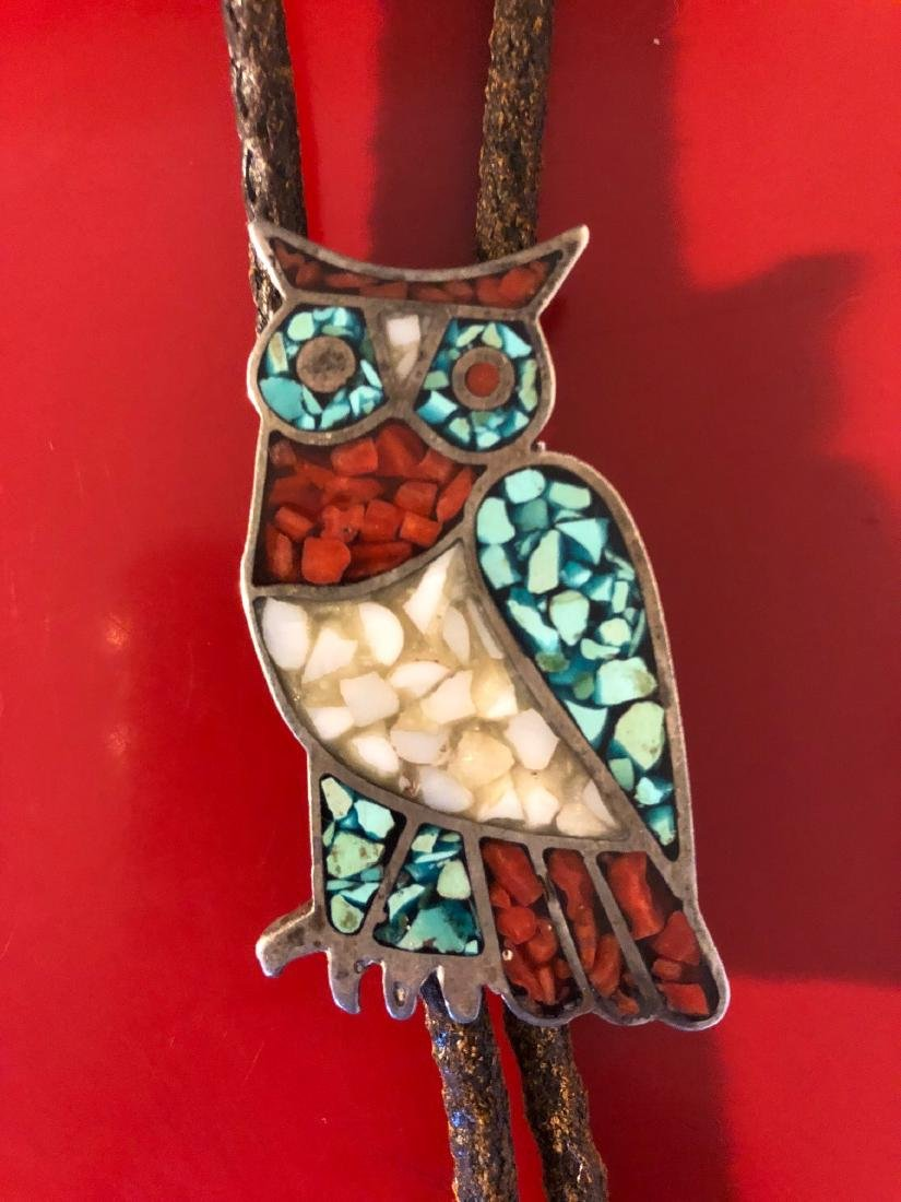 Men's Owl Bolo Necklace w/ Turquoise, Coral, Mother... - 2
