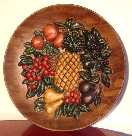 Unique Vintage Hand-Painted Ceramic Plate w/ Fruit