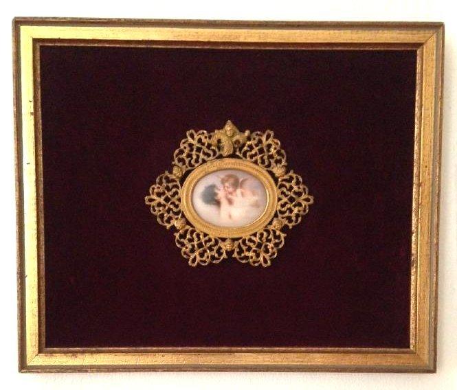1800's Porcelain Gilded Bronze Plaque w/ Cherubs