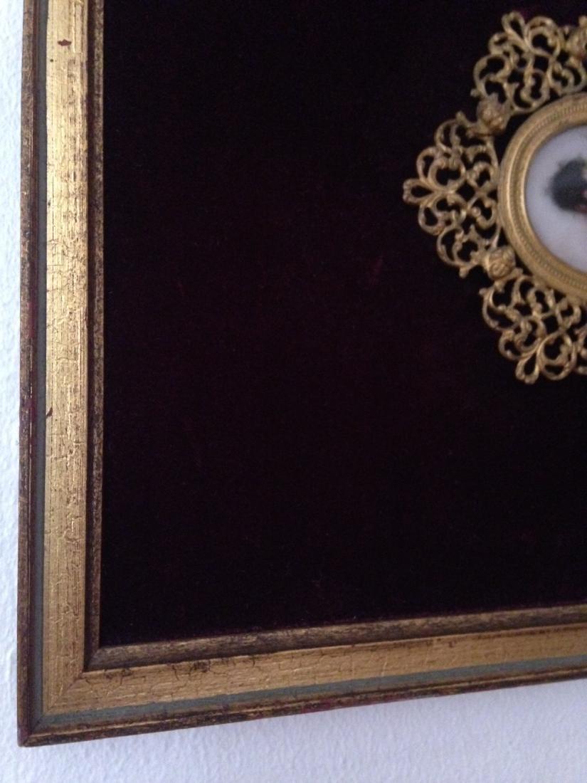 1800's Porcelain Gilded Bronze Plaque w/ Cherubs - 5