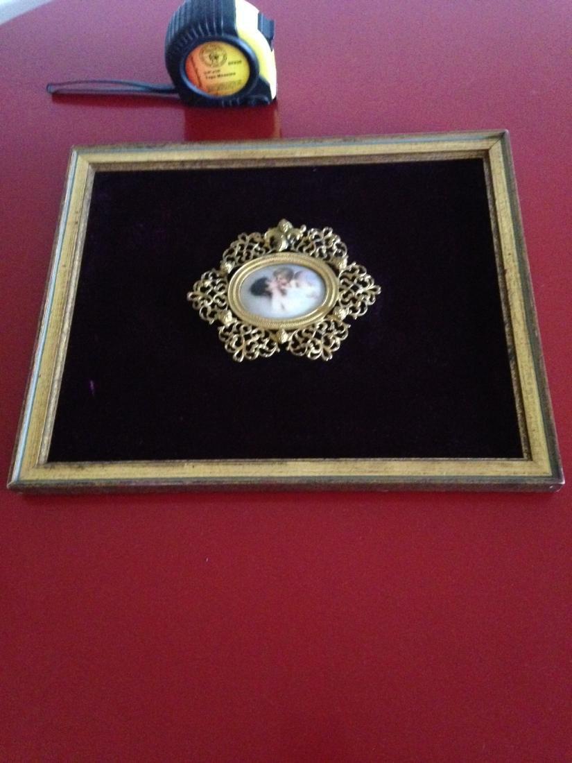 1800's Porcelain Gilded Bronze Plaque w/ Cherubs - 7